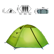 3 Persons Double Layer Outdoor Tent Waterproof Tents Camping Family Travel PU 3000mm Coating Fabric(China)