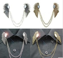 new  piercing vintage crystal wings of the collar chain brooch HOT brooch for women fashion jewelry