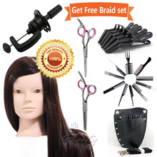 50% Real Hair Training Hairdressing & Makeup Practice Head + Salon Tools Set 24""