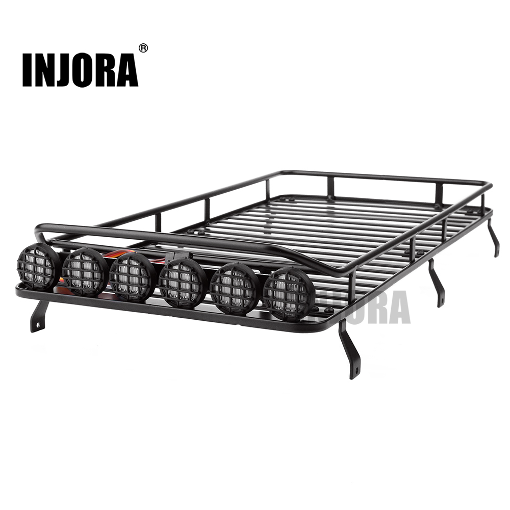 INJORA Roof Rack Luggage Carrier with Light Bar for 1/10 RC Crawler RC4WD D110 Traxxas TRX-4 Traction Hobby KM2<br>