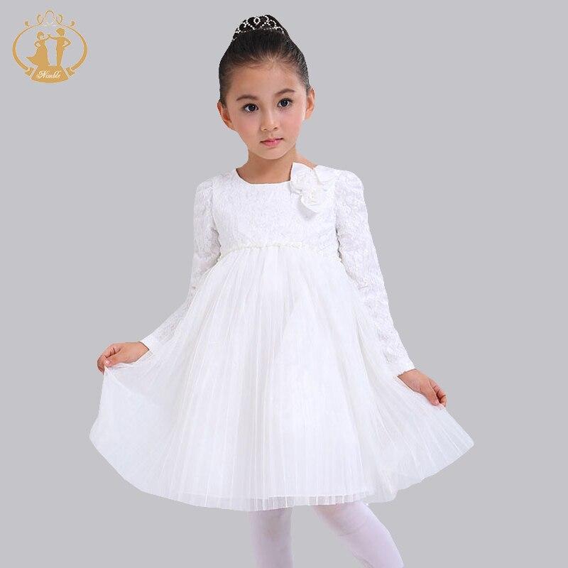 New Fashion Baby Girl Dress Solid Flower Full Sleeve Girl Autumn Winter  Dress For 73-100CM Girls<br><br>Aliexpress
