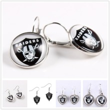 Oakland Raiders Team Logo DIY NFL Dangle Charms Drop Earrings Jewelry For Football Fans 10pairs/lot