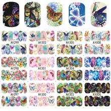 12 Designs/Sheet Colorful Butterfly Full Cover Water Transfer Decals Nail Art Manicure DIY Sticker Fingernail Wraps(China)