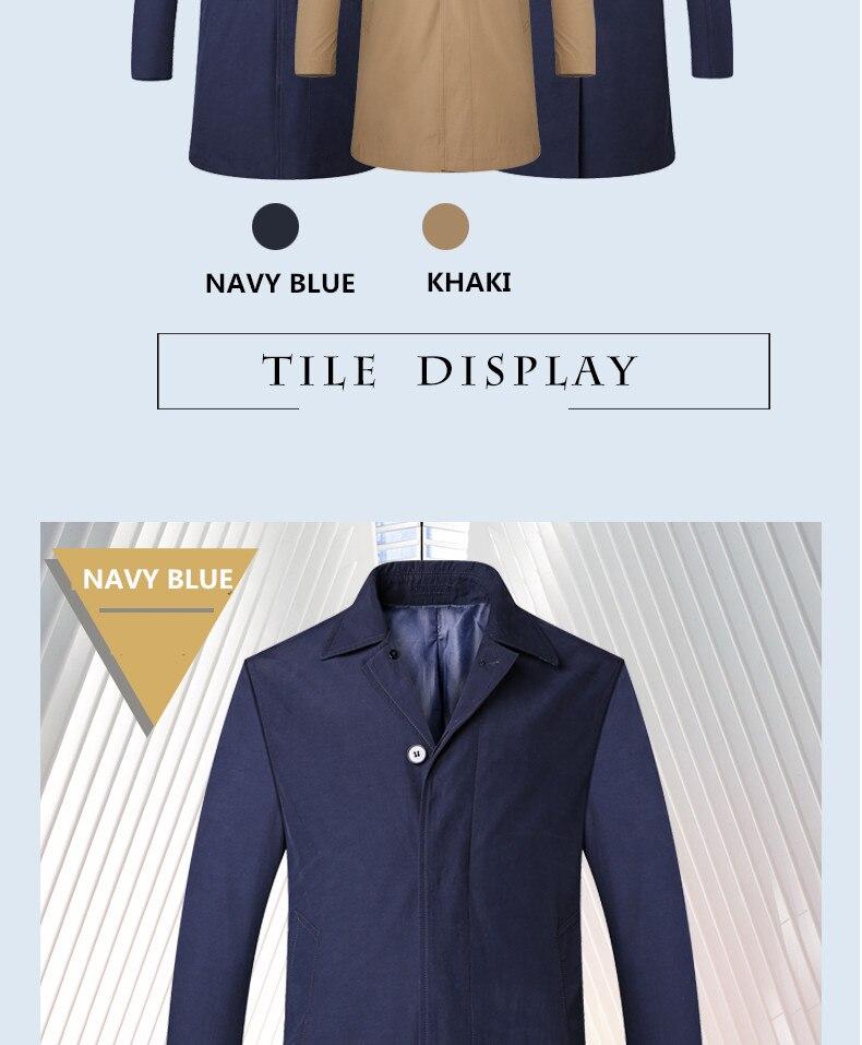 2018 New Spring Mens Casual Trench Coat Khaki blue Longline Thin Windbreaker Coats  (7)