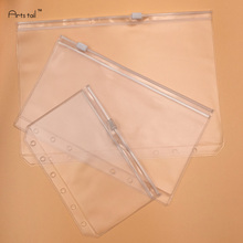 20 Pcs A5/A6/A7 PVC Bags Standard 6 Holes Transparent Loose-Leaf Pouch Comes With Self-Styled Zipper Filing Product Binder
