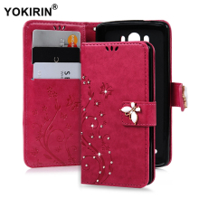 "YOKIRIN 3D Handmade Bling Crystal Cover For LG G3 D858 D855 D857 D856 5.5"" Diamond Butterfly Floral PU Leather Wallet Case(China)"