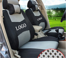 Car Seat Cover Embroidery Logo Front&Rear Complete 5 Seat Set For SUBARU LEGACY IMPREZA Dedicated Car Wraparound(China)