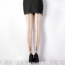 Buy Fashion Women's Tights Tattoo Cute Skinny Sexy Lovely Knee High Women's Stocking Pantyhose Attactive Woman Tight Stocking