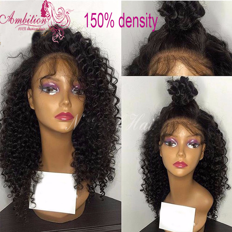 Kinky curly Virgin Brazilian Human Hair afro curly Wig 150 Density virgin Human Hair Full Lace Wig curly Glueless Lace Front Wig<br><br>Aliexpress
