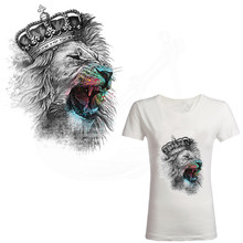 2017 new Europe style Crown lion Stickers 25*20cm patch T-shirt Dresses Sweater thermal transfer iron on patches(China)