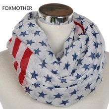 FOXMOTHER 2017 New Navy White Star Red Striped American Flag Infinity Scarves Snood For Womens(China)