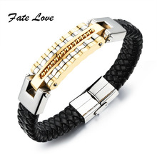 Buy Fashion Men Male Punk Jewelry Weaved Chain Genuine Leather + Stainless Steel Bracelets Charm Bangle High FL993 for $7.43 in AliExpress store