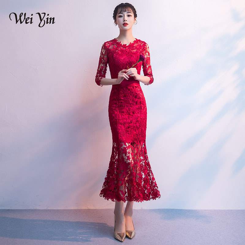 weiyin Burgundy Long Evening Dress Mermaid Lace High Quality  Women Elegant O Neck Prom Dress 2019 Vestido Longo-WY718