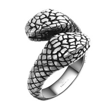 Men's rings stainless steel double-headed python ring personality rock punk fashion jewelry