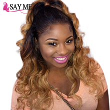 Ombre Brazilian Human Hair Weave 3 Bundles Body Wave With Closure 1b/4/27 4x4 Free Part Lace Closure SAY ME Blonde Remy Hair(China)