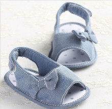 2017 Summer Baby Toddler Girls Soft Sole Denim Bowknot Prewalker Non-Slip Crib Shoes Infantil Newborn Flat Cotton Shoes 0-18M(China)