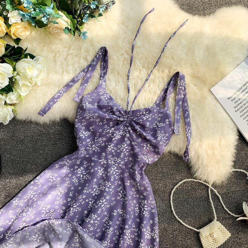 Holiday 2019 New Flower Print V-collar Drawstring High Waist Slim A-line Beach Dress Women Vestidos 24 Online shopping Bangladesh