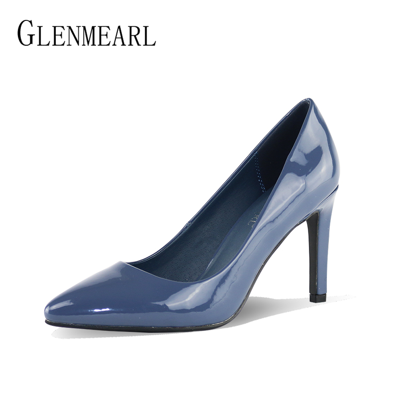PU Leather Pumps Women Shoes High Heels Office Lady work Shoes Spring Brand Pointed Toe Thin Heel Woman Party Shoes Plus Size DO<br>