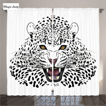 Curtains For Living Room Bedroom Home Decor Safari Collection Leopard Predator Illustration Black Red White 2 Panels 145*265 sm