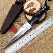 Handmade Camping hunting knife stainless Cold AUS+ steel fixed blade knives Wood handle Leather sheath outdoor survival EDC tool(China)