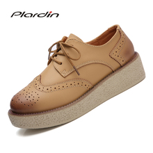 plardin New Four seasons Women shoes Wedges Heel Shoes Woman Lace Up Round Toe cutouts Sewing Leather Flat Platform Shoes(China)