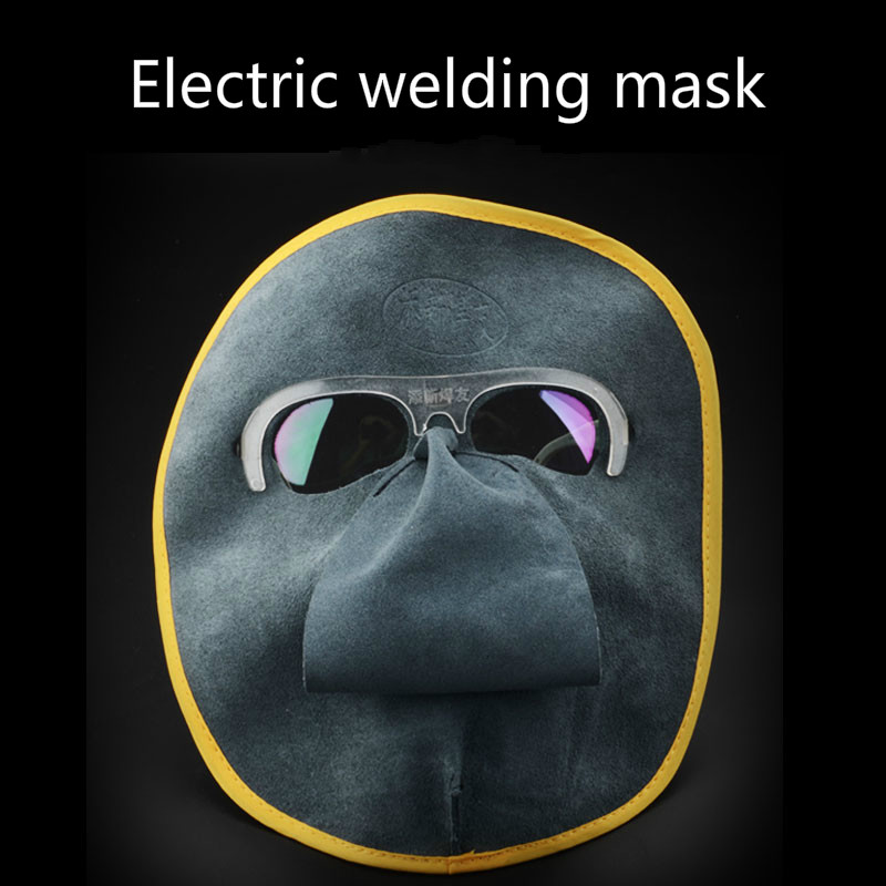 A new welding mask leather welding welding mask face welding protective mask + green glasses [model]<br><br>Aliexpress