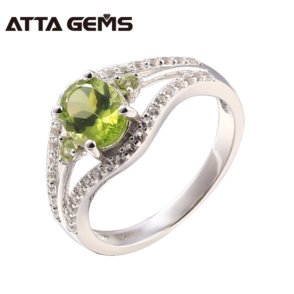 Natural Peridot Sterling Silver Ring Women Classic Fashion Style 2.2 Carats Natural Peridot Women Wedding Ring August Birthstone