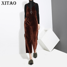 [XITAO] Korea Vintage 2018 Spring New Women Solid Color Strapless Jumpsuits Female Casual Bandage Ankle-Length Pants XWW2471(China)