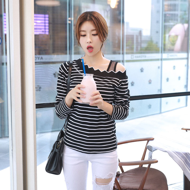 Embroidery T Shirt Women Clothes 2017 Autumn Tops Striped Tshirt Casual Patchwork T-Shirts Clothing Long Sleeves Tee Shirt Femme