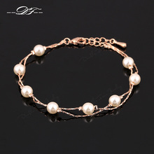 Double Fair Charm Bracelets & Bangles Silver/Rose Gold Color Fashion Simulated Pearl Beads Wedding Jewelry For Women DFH169(China)