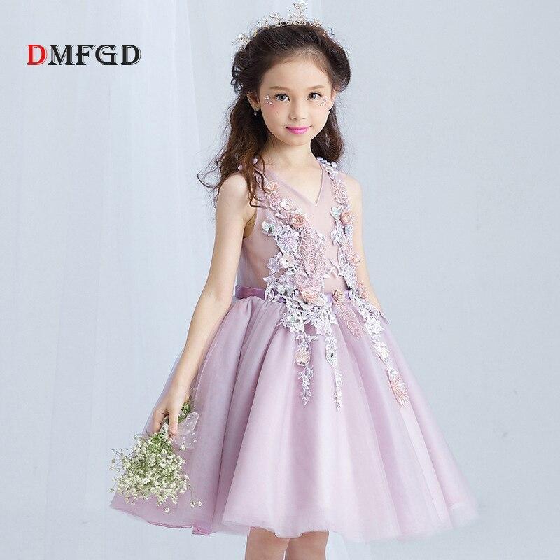 2018 Spring children dresses girls child princess dress Embroidey sleeveless tutu summer flower clothes wedding formal dress<br>