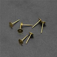 50pcs/lot 3/4/5/6/8/10/12mm Gold Stainless Steel Earring Stud Ear Post Nails Flat Earring Pad base Posts for DIY Jewelry Making