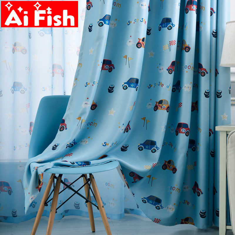 Blue American Style Cartoon Car Printing Curtains for Bedroom Children Custom Green Fabric Blind cortina infantil AF005-20