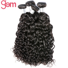 Brazilian Water Wave Remy Hair Weave Bundles Natural Black 1Pc Can Be Bleached GEM Hair Products 100% Human Hair Extensions 1b(China)