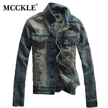 MCCKLE Vintage Mens Ripped Denim Jacket Designer Fashion Washed Slim Fit Jean Jackets Man Turn Down Collar Casual Veste Homme(China)