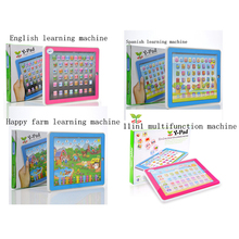 Spanish&English learning machine,Happy farm Y-pad,11in 1 multifunction toy learning educational plasitc computer,baby gift(China)