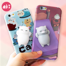 AKI Squishy Phone Case for iPhone 7 6 6S Plus Case Finger Pinch 3D Cute Soft Silicone Panda Pappy Cat Seal Kitty Cover Coque