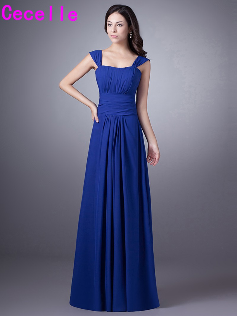 Compare prices on beach blue dress bridesmaid online shoppingbuy royal blue long beach chiffon bridesmaid dresses with straps pleats a line formal wedding party ombrellifo Images