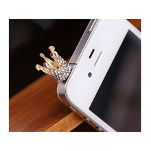 POMER Universal 3.5mm New Fashionable Bling Crown 3.5mm Earphone Jack Dustproof Plug Ear Dust Cap For iphone For Samsung Galaxy(China)