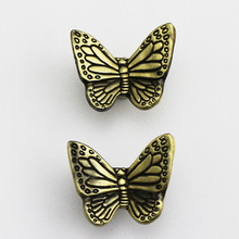 Terrancara furniture vintage butterfly handles brushed bronze/copper cabinet knobs 10pcs/lot