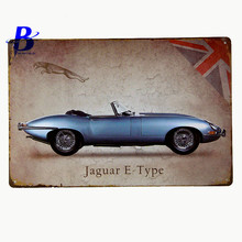 "Custom Neon Sign""Jaguar E Type"" Vintage Metal Tin Signs Retro Tin Plate Sign Wall Decoration for Cafe Bar Shop Led Neon Signs"