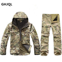Winter Autumn Waterproof Shark Skin Soft Shell Jacket Set Men Tactical CP Camouflage Jacket Coat Camo Military Army Clothes Suit