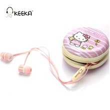 KEEKA Cute Hello Kitty Wired Earphone In ear Cartoon Lovely Kids Children Candy With Mic earbuds Hard Case Kitty Cat Headset