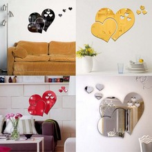 5PC/SET Heart - Shaped Mirror Wall Stickers Three - Dimensional Living Room Bedroom Wedding Room Decoration Mirror Wall Stickers
