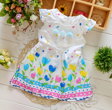 2016  Fashion Summer Baby Dress Floral print baby Dress with flower children clothing