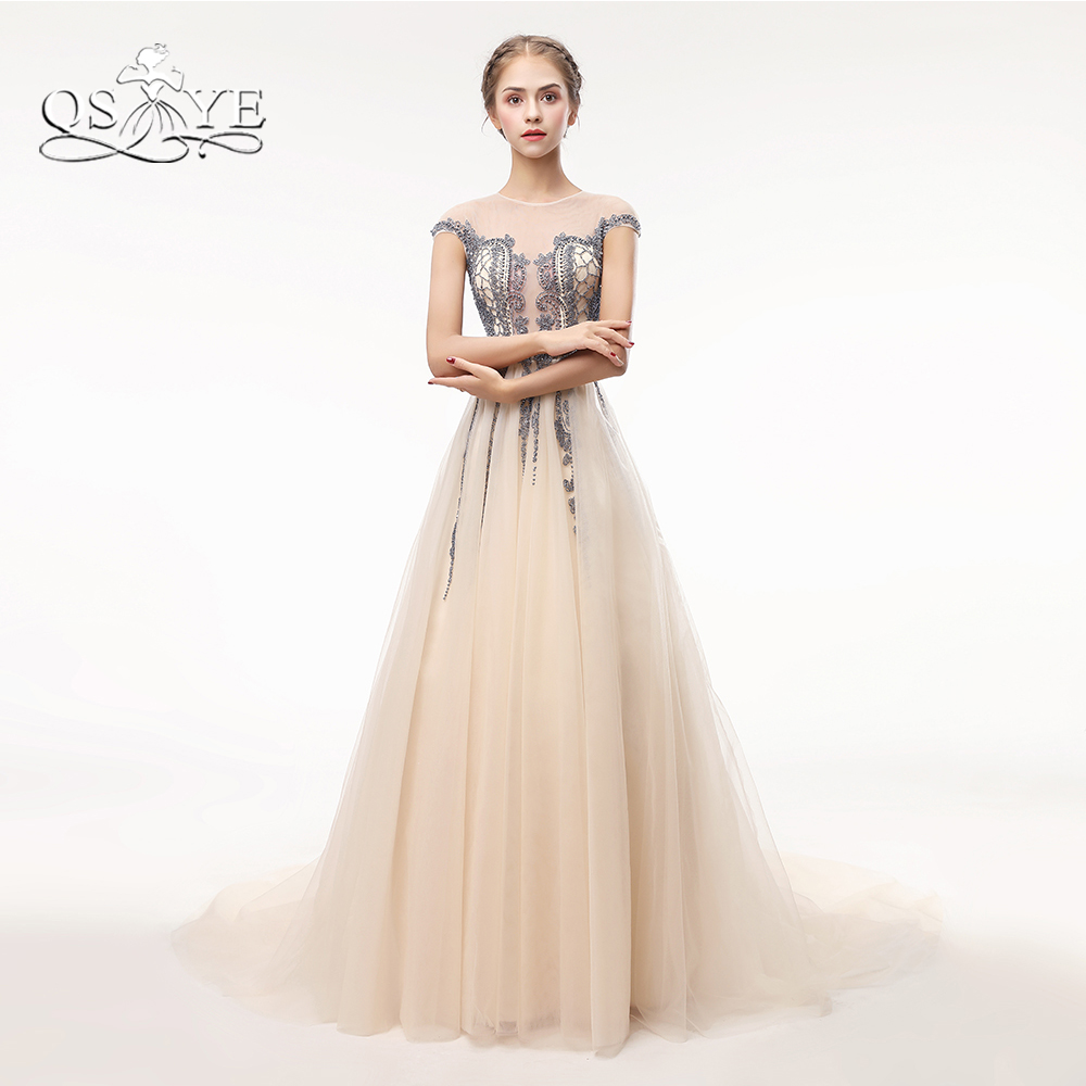 QSYYE Champagne Long Prom Dresses 2018 Robe de Soiree Elegant Sheer Neck Beaded Lace Tulle Formal Evening Party Gown Custom