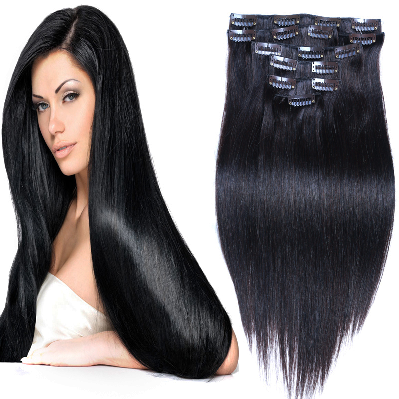 Remy Virgin Brazilian Hair Clip In Real Human Hair Extensions clip in hair extensions human hair 1B&10pcs/set 70g to 200g