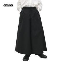 Hombres moda Retro falda Casual Pantalones Pantalón ancho negro pantalones  Japón estilo Punk gótico etapa desgaste flojo Harem P.. c62fb9628fe