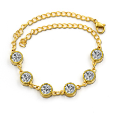 LUXUSTEEL Hot Selling Wedding Gold Color Bracelet Stainless Steel Filled Shiny Crystal Bracelet For Women(China)