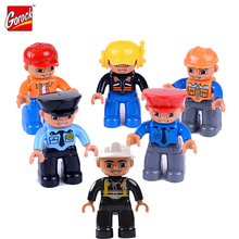6pcs Career People Characters Puppets Big Building Blocks Figurines Toy Boys Girls Props Dolls City Profession Role Play Game(China)